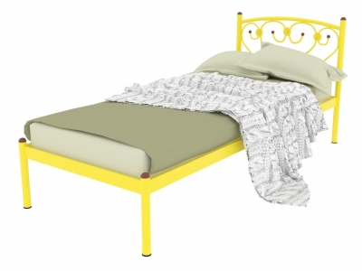 Кровать металлическая Ева желтая