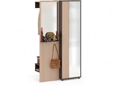 Прихожая Сокол ВШ-8 с шкафом с зеркалом Венге/Беленый дуб