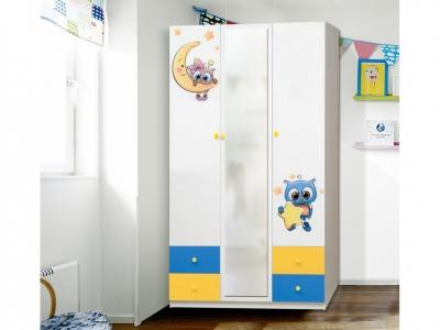 Шкаф 3-х дверный с ящиками и зеркалом Совята 3.2