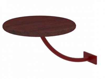 Полка прикроватная круглая Милсон коричневая-металл красный акция